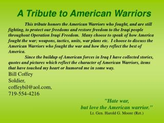 A Tribute to American Warriors