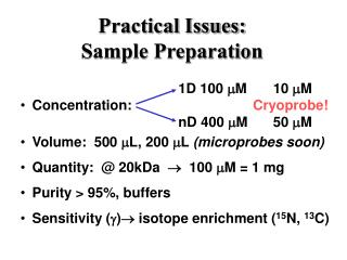 Practical Issues: Sample Preparation