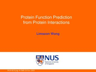 Protein Function Prediction from Protein Interactions