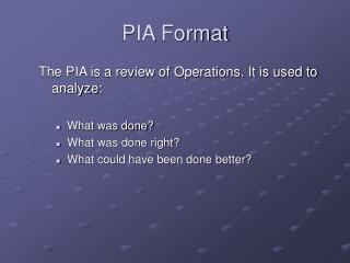 PIA Format