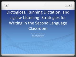 Dictogloss , Running Dictation, and Jigsaw Listening: Strategies for Writing in the Second Language Classroom