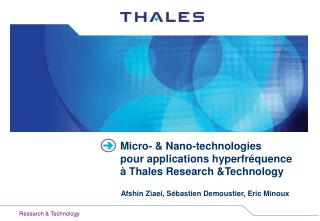 Micro- & Nano-technologies  pour applications hyperfréquence à Thales Research &Technology