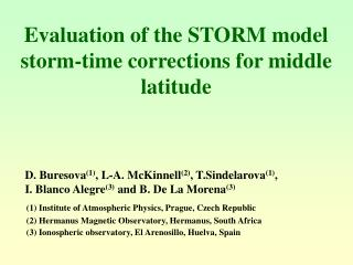 Evaluation of the STORM model storm-time corrections for middle latitude