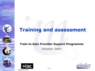 Training and assessment