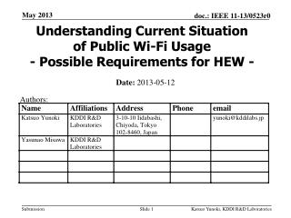 Understanding Current Situation of Public Wi-Fi Usage - Possible Requirements for HEW -