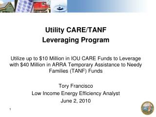 Utility CARE/TANF  Leveraging Program