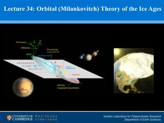 Lecture 34: Orbital (Milankovitch) Theory of the Ice Ages