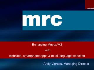 Enhancing Movex/M3  with  websites, smartphone apps & multi-language websites