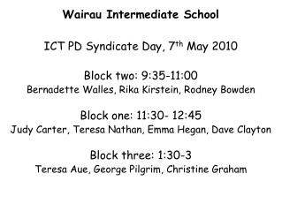 Wairau Intermediate School  ICT PD Syndicate Day, 7 th  May 2010 Block two: 9:35-11:00