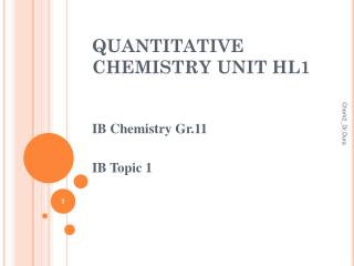 QUANTITATIVE CHEMISTRY UNIT HL1