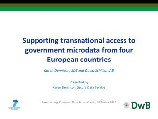 Supporting transnational access to government  microdata  from four European countries