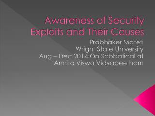 Awareness of Security Exploits and Their Causes