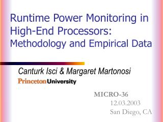 Runtime Power Monitoring in High-End Processors: Methodology and Empirical Data