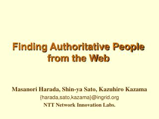 Finding Authoritative People from the Web