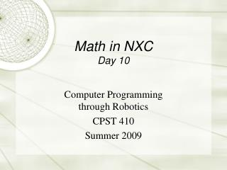 Math in NXC Day 10