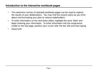 Introduction to the interactive workbook pages
