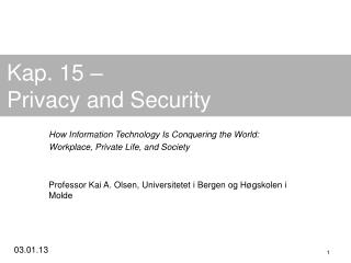Kap. 15 – Privacy and Security