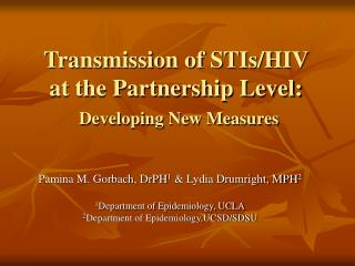 Transmission of STIs/HIV at the Partnership Level: Developing New Measures
