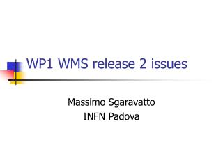 WP1 WMS release 2 issues