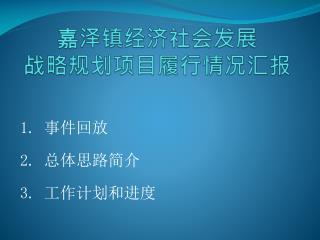 嘉泽镇经济社会发展 战略规划项目履行情况汇报