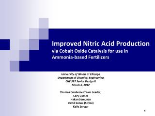 Improved Nitric Acid Production  via Cobalt Oxide Catalysis for use in Ammonia-based Fertilizers