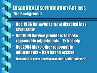 Disability Discrimination Act 1995 The Background