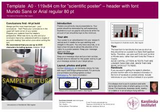 "Template A0 -  119x84 cm for "" scientific  poster"" –  header  with font  Mundo  Sans or Arial  regular  80 pt"