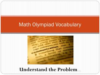 Math Olympiad Vocabulary