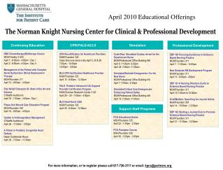 April 2010 Educational Offerings