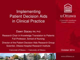 Implementing  Patient Decision Aids  in Clinical Practice
