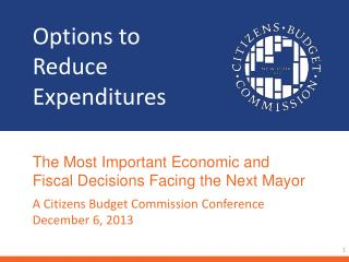 Options to  Reduce Expenditures