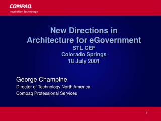 New Directions in  Architecture for eGovernment STL CEF Colorado Springs 18 July 2001