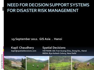 NEED for decision support systems for disaster risk management