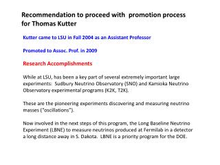 Recommendation to proceed with promotion process for Thomas Kutter