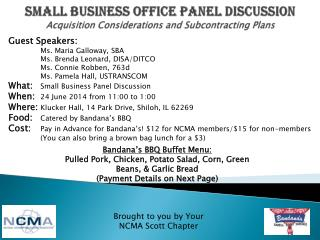 Small business office panel discussion Acquisition Considerations and Subcontracting Plans
