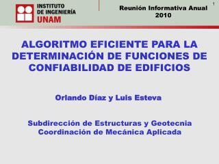 ALGORITMO EFICIENTE PARA LA DETERMINACIÓN DE FUNCIONES DE CONFIABILIDAD DE EDIFICIOS