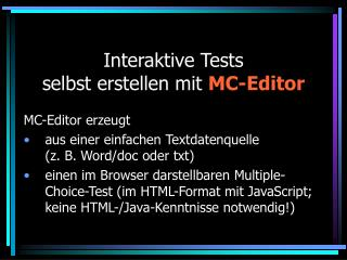 Interaktive Tests selbst erstellen mit MC-Editor
