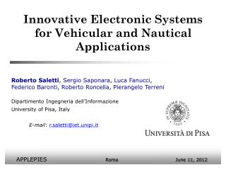 Innovative Electronic Systems for Vehicular and Nautical Applications