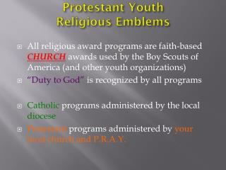 Protestant Youth  Religious Emblems
