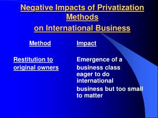 Negative Impacts of Privatization Methods on International Business