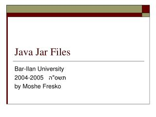 Java Jar Files