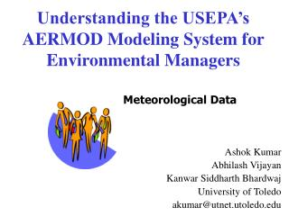 Understanding the USEPA s AERMOD Modeling System for Environmental Managers