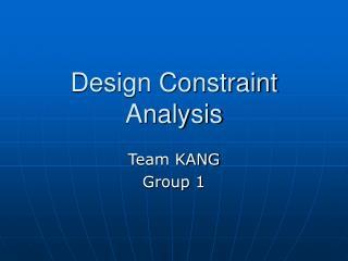 Design Constraint Analysis