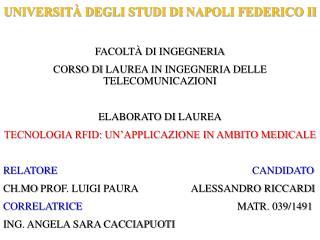 UNIVERSITÀ DEGLI STUDI  DI  NAPOLI FEDERICO II FACOLTÀ  DI  INGEGNERIA