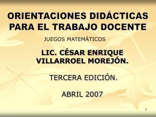 ORIENTACIONES DIDÁCTICAS PARA EL TRABAJO DOCENTE