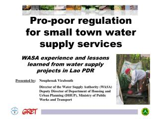 Pro-poor regulation for small town water supply services