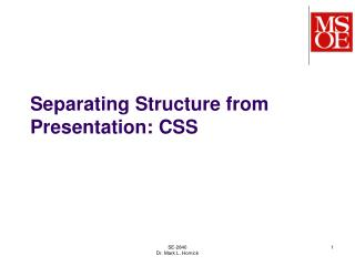 Separating Structure from Presentation: CSS