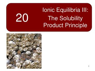 Ionic Equilibria III: The Solubility Product Principle