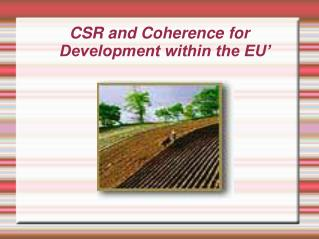 CSR and Coherence for Development within the EU'