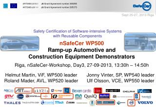 nSafeCer WP500 Ramp-up Automotive and  Construction Equipment Demonstrators